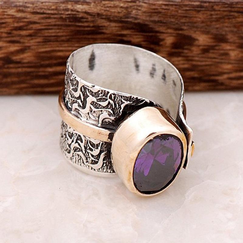荣钰wish热卖新款镀925泰银紫水晶双色戒指 欧美复古流行分色指环