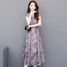 雪纺连衣裙女夏季2019新款高贵气质遮肚子阔太太过膝印花流行裙子