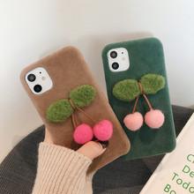 日韩樱桃iphone手机壳 冬天苹果8plus手机壳毛绒硅胶套xr女款适用