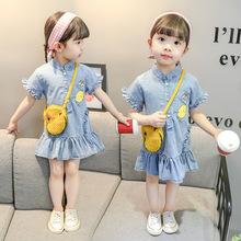 女童连衣裙2019夏季牛仔韩版印花公主裙1-5岁0女宝宝儿童洋气裙子