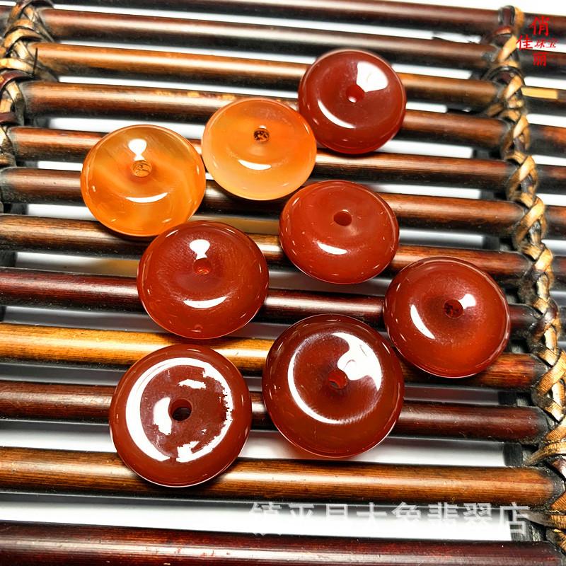 厂家直销天然玉石红色玛瑙玉髓吊坠挂件小平安扣玉器礼品饰品配件