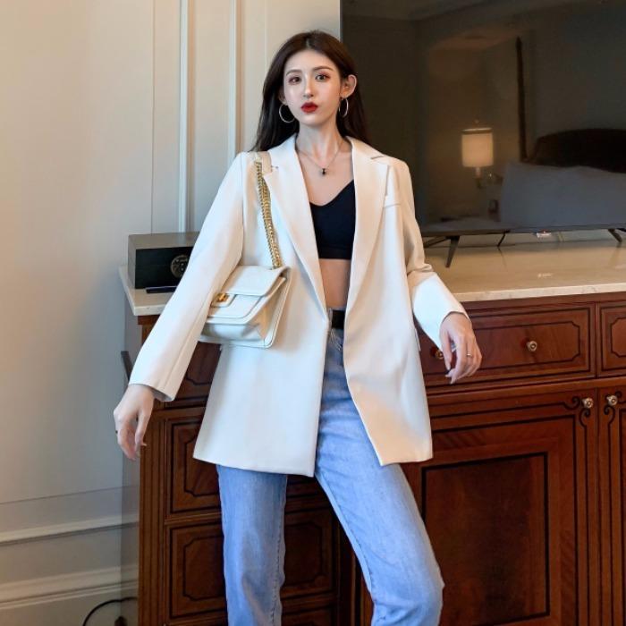 西装女秋装2019年新款法式复古系带收腰中长款休闲气质小西服外套