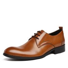 正品真皮男鞋 商务正装男士尖头皮鞋 男英伦潮流系带单鞋透气鞋子