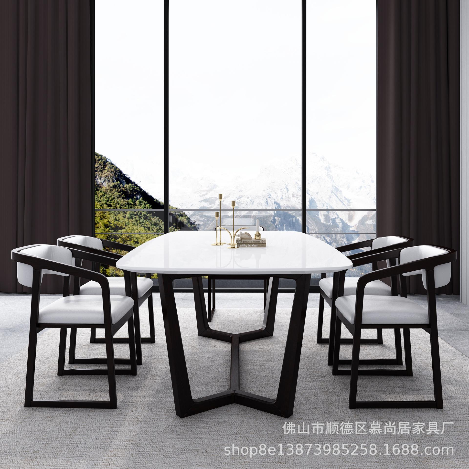北欧实木餐桌椅组合 小户型现代简约爵士白大理石家用餐桌6人饭桌