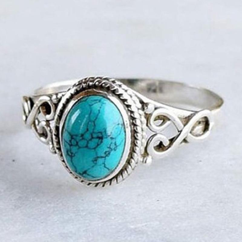 ?#27454;ish爆款复古天然宝石绿松石戒指新娘婚礼订婚戒指男女戒饰品