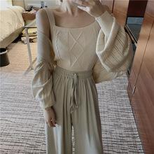 时尚套装女港味麻花带冰爽丝短款小吊带+镂空芭蕾针织披肩两件套