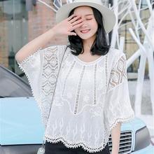 2019夏季品牌韩版清新甜美雪纺女装套头圆领宽松型蕾丝衫