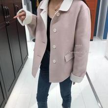 19年秋冬新品短款羊绒大衣女装上衣小个子女生毛呢外套可爱女上