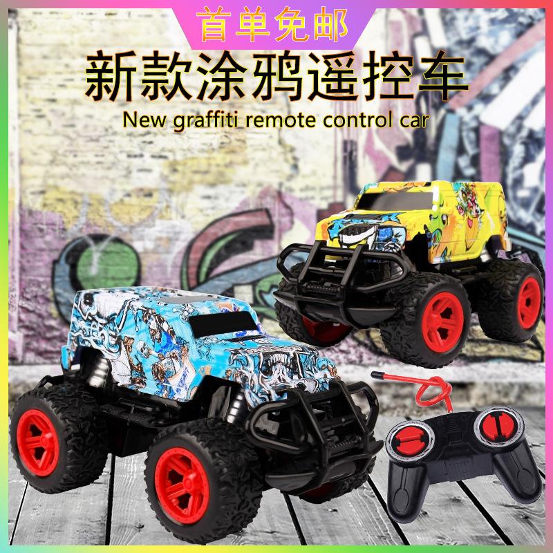 廠家直銷兒童玩具無線四通遙控越野車電動汽車模型涂鴉玩具車批發