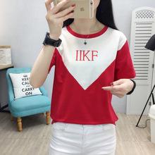 2020新款女裝短袖修身圓領字母印花純棉t大碼拼色T恤韓版百搭上衣