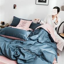 跑量款廠家直銷60純色長絨棉純棉雙拼刺繡床單床笠款四件套