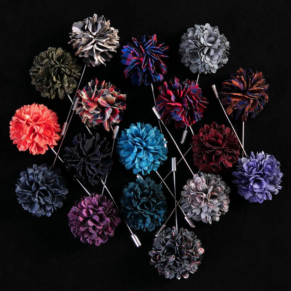 17色男士胸针男配饰 西服时尚西装布艺胸花 创意精致手工格子领针