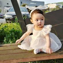 女童连衣裙夏装婴儿百日周岁生日礼服宝宝纱裙小童1-3岁公主裙子