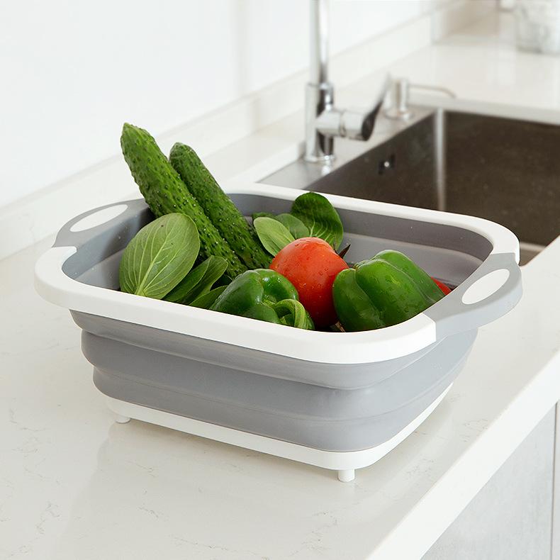 多功能折叠菜板硅胶伸缩可折叠水槽厨房碗筷水果沥水篮家用洗菜篮