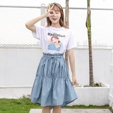 实拍2019夏新款森女少女T恤半身裙两件套中学生少女连衣裙