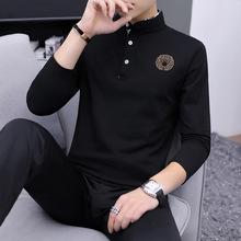 男体恤2019春季新款纯棉套头长袖T恤青少年立领薄款打底衫男装潮