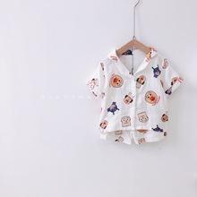 面包超人夏季棉麻薄款透气家居服睡衣卡通韩国婴童小宝宝