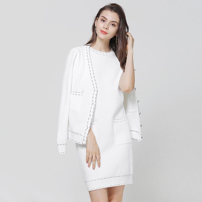 套装针织衫连衣裙+长袖休闲外套两件套通勤女装2019秋季新款代发