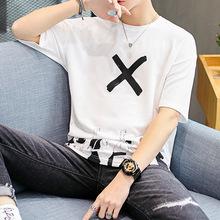 短袖T恤男2019夏季新款青年男裝韓版圓領夏裝個性潮流半袖男士T恤
