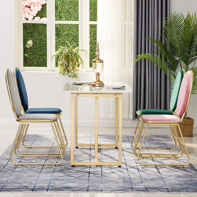 北欧简约大理石铁艺餐桌 西餐厅4-6人吃饭桌子家用饭厅餐桌椅组合