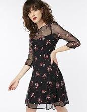 英国轻奢monsoon 拼接网纱透视 花朵刺绣连衣裙