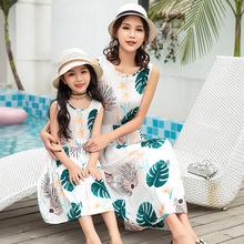 亲子连衣裙夏人造棉母女装沙滩裙中大童儿童棉绸纱裙女孩中长款裙
