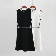 2019春季新款欧美时尚裙子 中长款黑白条连衣裙 都?#34892;?#36523;连衣裙