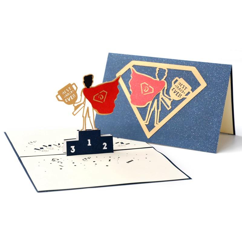 父亲节贺卡超人爸爸创意3D立体纸雕送男生爸爸礼物定制感恩小卡片-