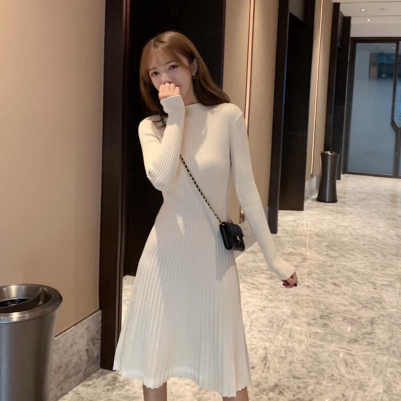 2019秋冬新款韩版长袖半高领收腰针织显瘦百搭内搭中长款裙子女