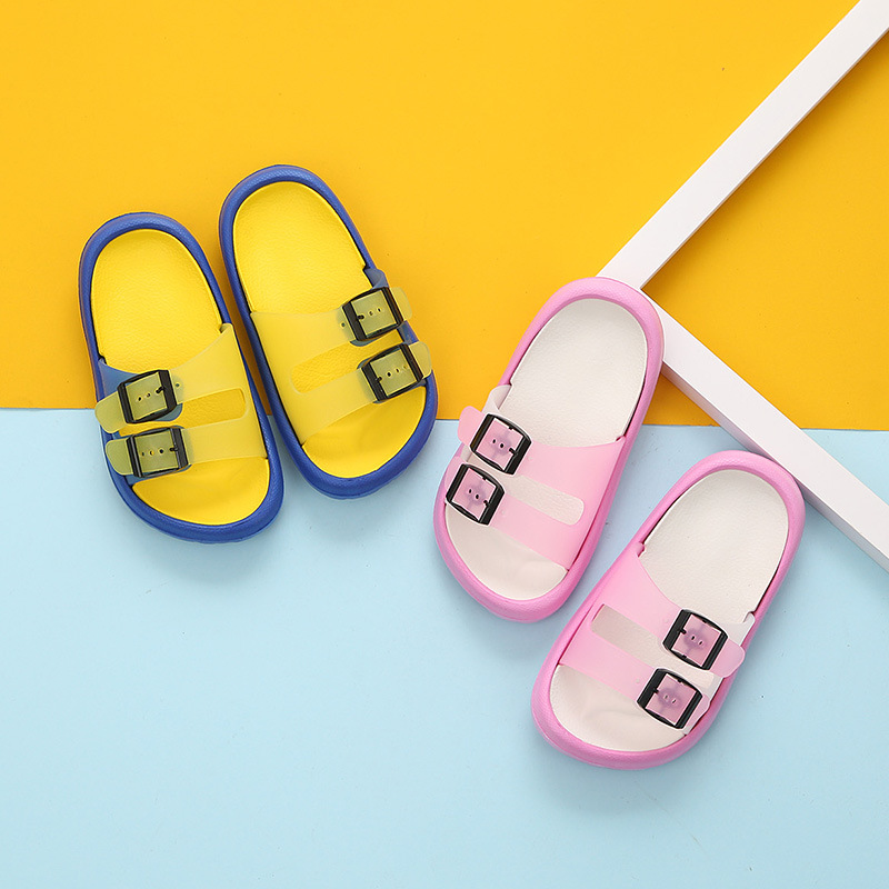 [close child paragraph] double buckle children cool slipper simple bathroom slipper resides small To