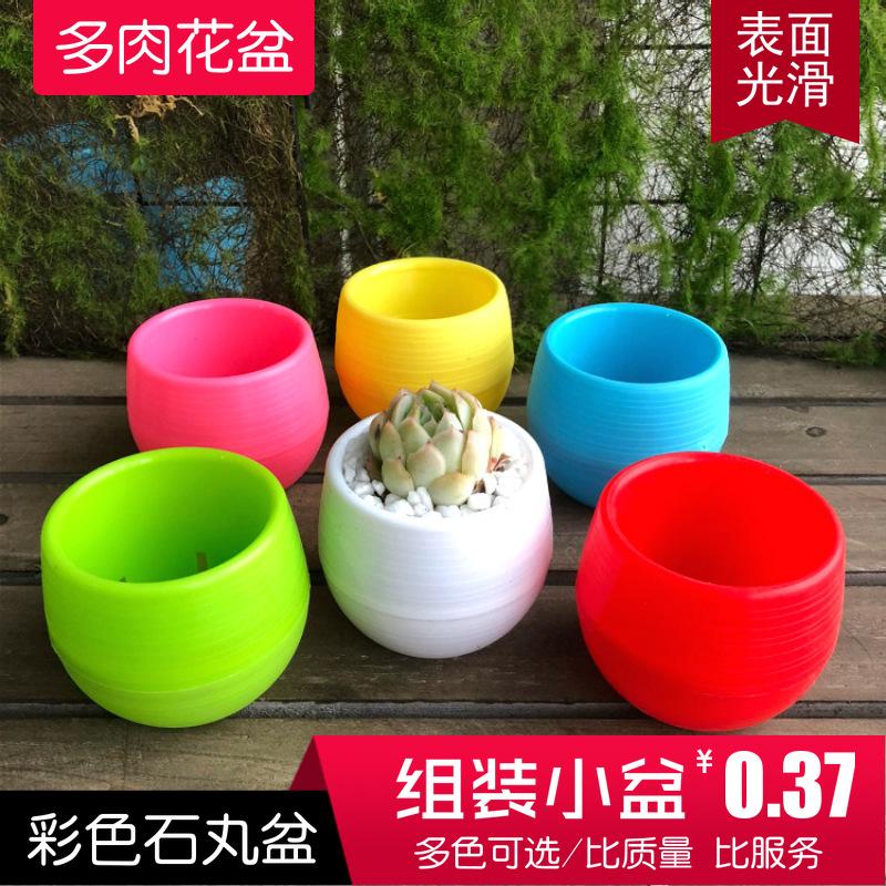 厂家批发供应多肉植物小花盆 塑料多色自由搭配石丸花盆 一个起批