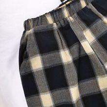 41604805春夏儿童休闲阔腿裤舒适直筒裤儿童七分裤格子裤子童裤