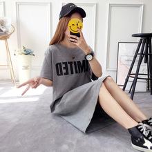 2019韩国夏天新款短袖T恤裙子女学生中长款纯棉大码宽松连衣裙潮