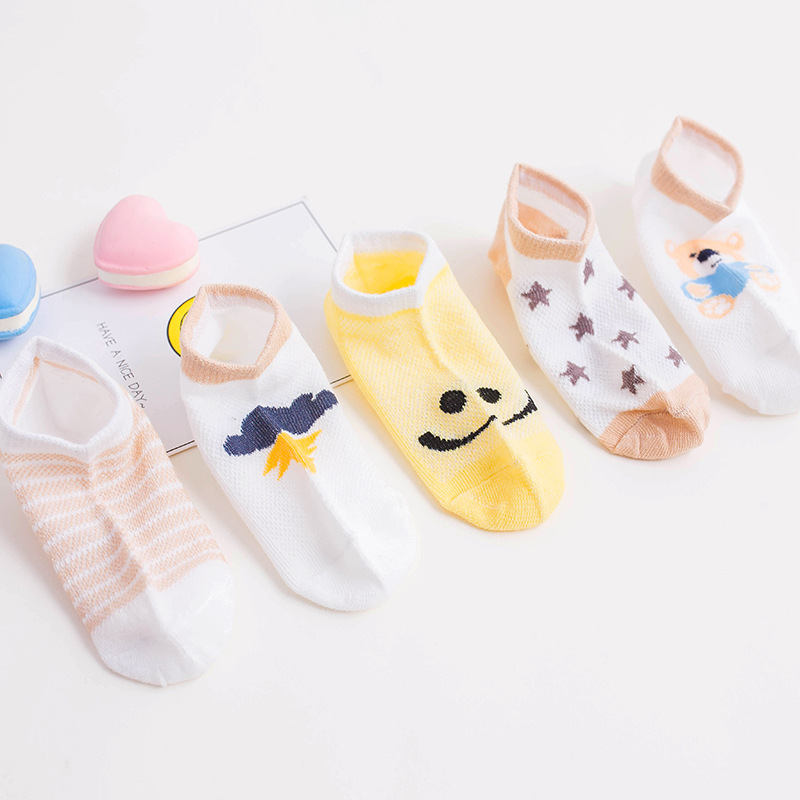 Small fund of children socks summer breathes freely boat socks cartoon is invisible summer of mesh c