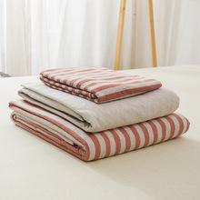 天竺棉针织棉四件套日式无印纯棉简约中条纹床品床单床笠良品代发