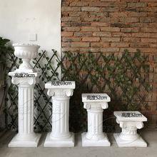 欧式石膏花架道具户外婚庆方形罗马柱子路引花盆石材落地庭院摆件
