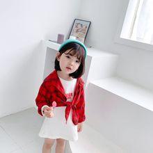 19秋季新款童装 女童格子衬衫+T恤打底衫套装