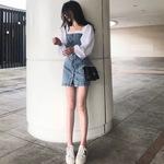 假两件拼接牛仔连衣裙女夏季2019新款法式复古裙气质收腰显瘦裙子