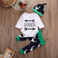 婴儿套装春秋箭头字母长袖三角哈衣鹿角裤?#29992;?#23376;新生儿三件套装潮