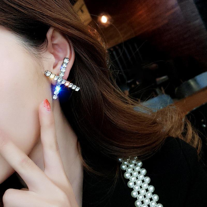 韩国气质耳钉通勤百搭X交叉几何字母耳钉925银针精致微镶钻新耳钉