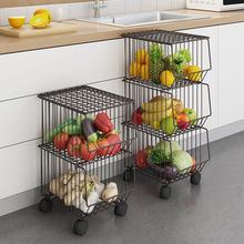 棕色廚房置物架家用鍋煲落地多層碗盤放蔬菜水果籃子白色雜物架子