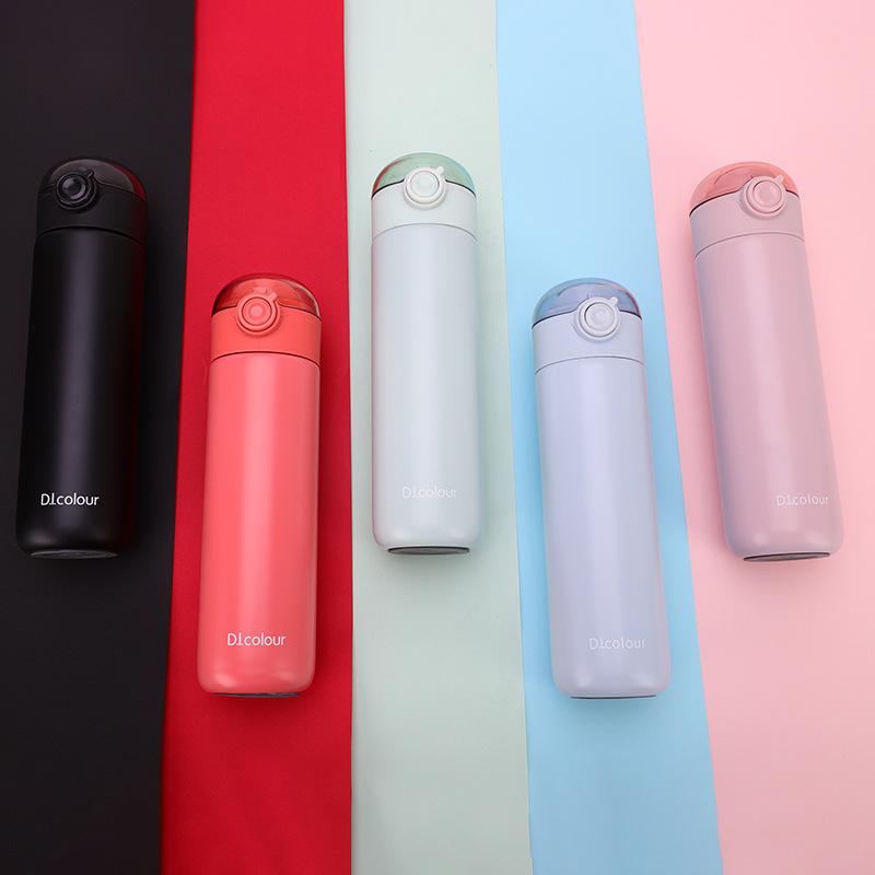 厂家新款弹跳杯304不锈钢保温杯学生运动水杯女士礼品广告杯定制