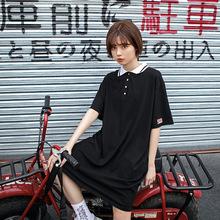 一件代发2019夏季新款品质女装 韩版?#37319;玃OLO领中长款T恤连衣裙女