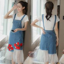 19夏季新款17韓版16高中15初中牛仔背帶連衣裙13歲少女吊帶連衣裙