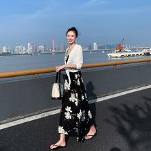 连衣裙女2019新款秋韩版印花吊带裙子显瘦仙女雪纺长裙流行两件套