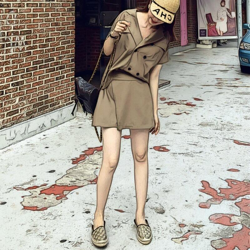 ANNA酷酷的双排扣上衣+高腰a字裙裤chic卷边短袖西装套装女F4375
