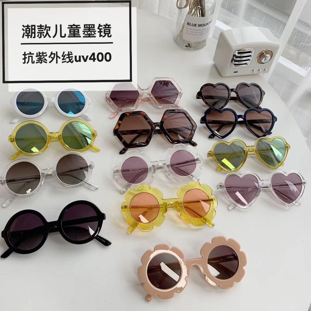 ins定制儿童墨镜透明花朵爱心XO男女宝宝F紫外线太阳眼镜潮童