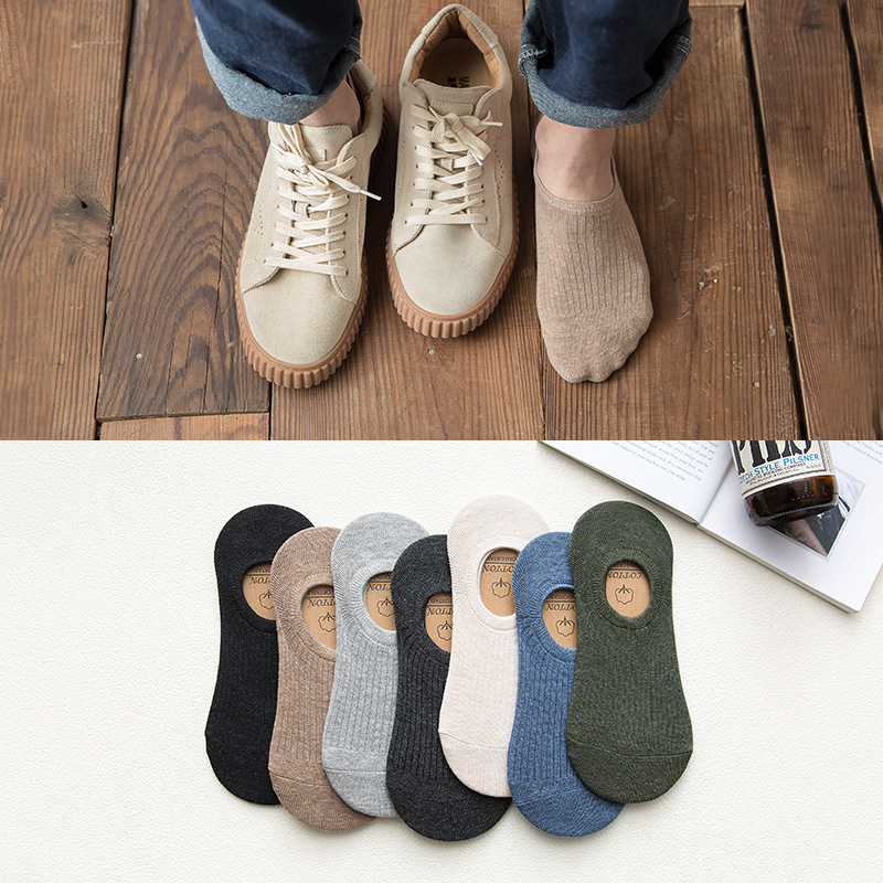 Cotton of simple look of Chun Xiaxin money is invisible socks man silica gel prevents sock of stripe