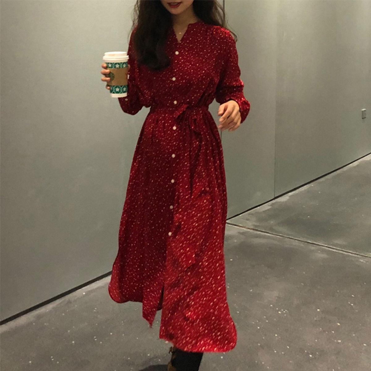 2019秋季新款长裙子脚踝显瘦仙气森系气质学生长袖红色雪纺连衣裙