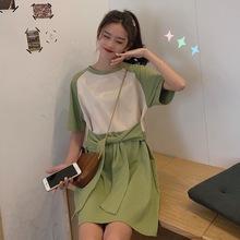 实拍2019夏季新款韩版小清新系带短袖T恤中长连衣裙